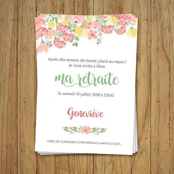 invitation carte retraite champetre fleurs faire part anniversaire pastel personnalise