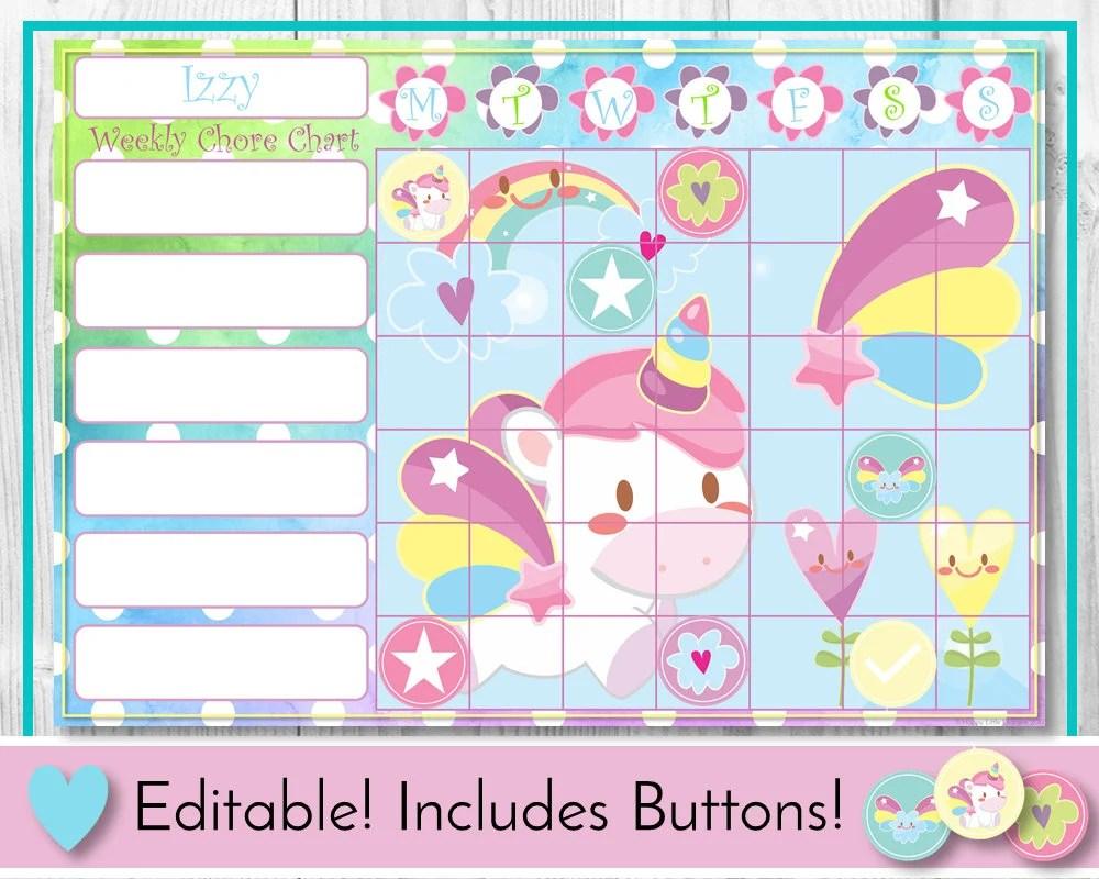 Unicorn editable chore chart reward behaviour and responsibility fantasy printable task toddler routine also etsy rh
