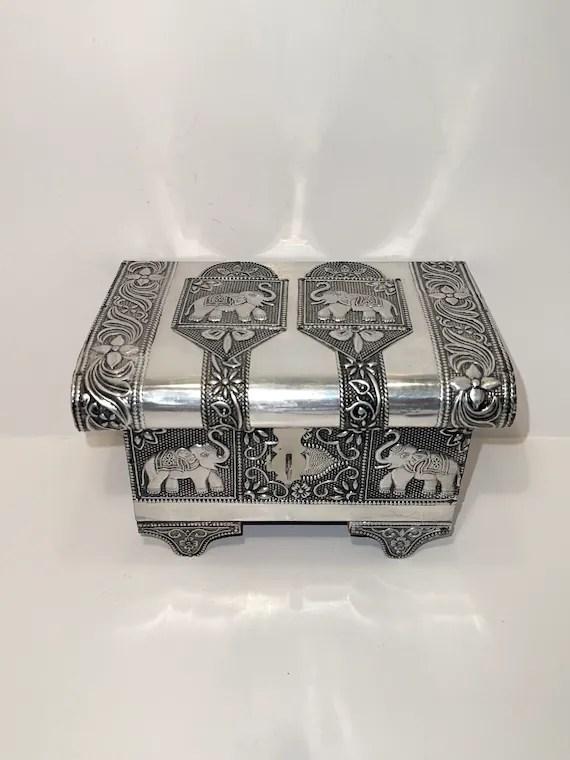 Elephant Jewelry Box : elephant, jewelry, Vintage, Jewelry, Hummingbird, Trinket, Dish,, Floral…