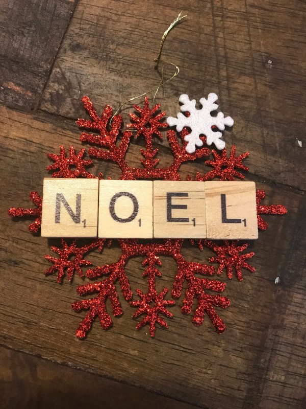 Scrabble Snowflake Christmas Ornament