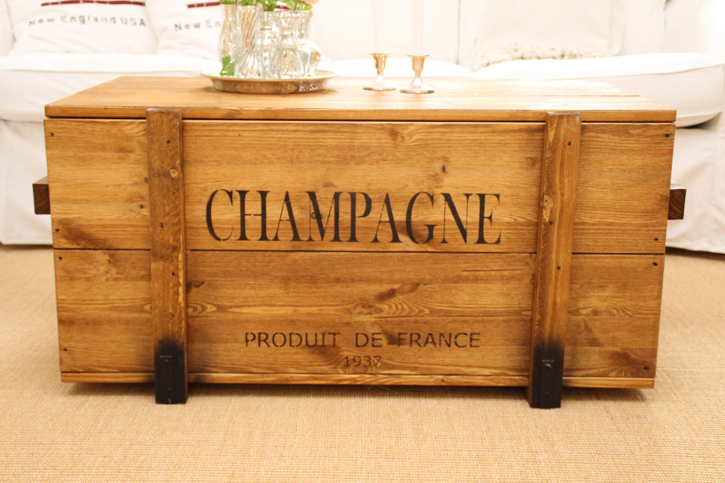 chest cargo crate champagne coffee table wood box coffee table shabby chic vintage walnut brown