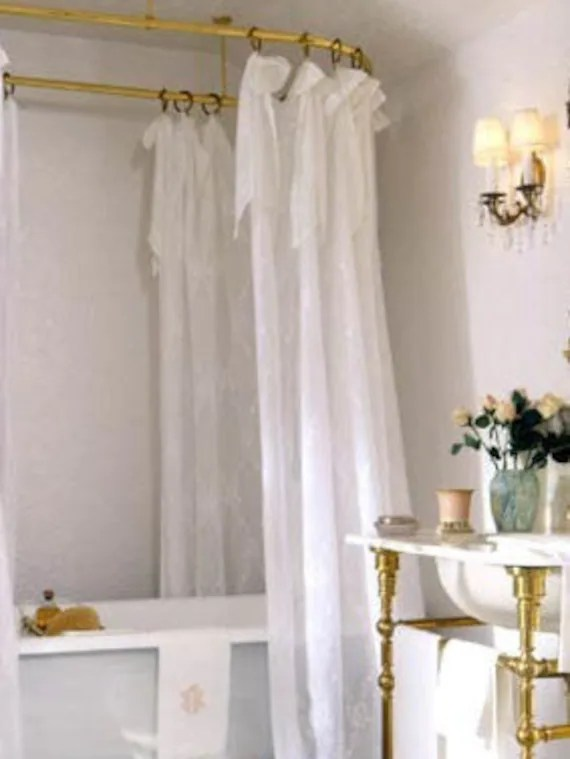 Farmhouse White Sheer Shower Curtain Shabby Chic Vintage