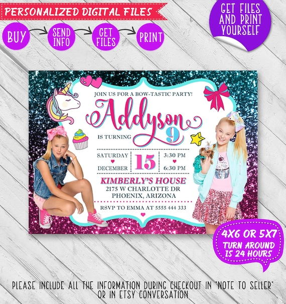 jojo siwa invitation jojo siwa birthday invitation jojo siwa birthday jojo siwa invite jojo siwa party jojo bow jojo siwa printables