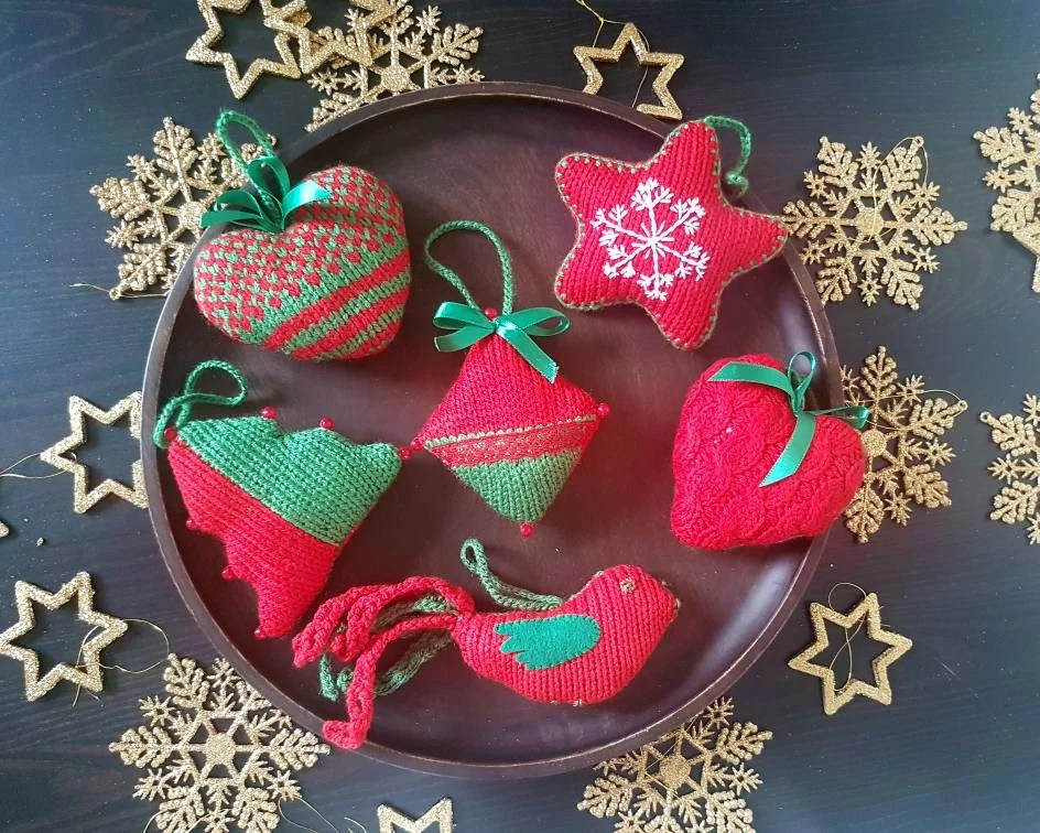 Christmas Decorations Christmas Ornaments Knitted Christmas Etsy