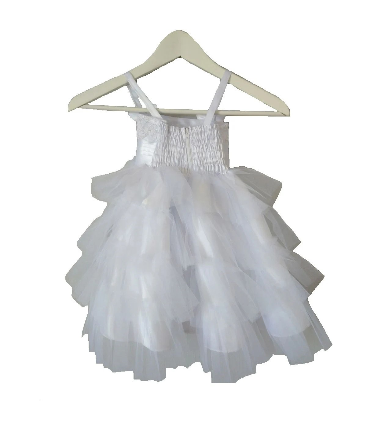 Christening Dress With Tulle Ruffled Skirt Butterfly