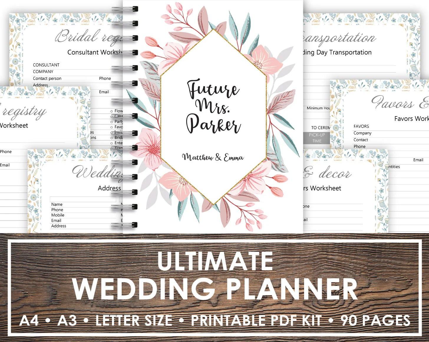 Wedding Planner Book Wedding Planner Printable Planning