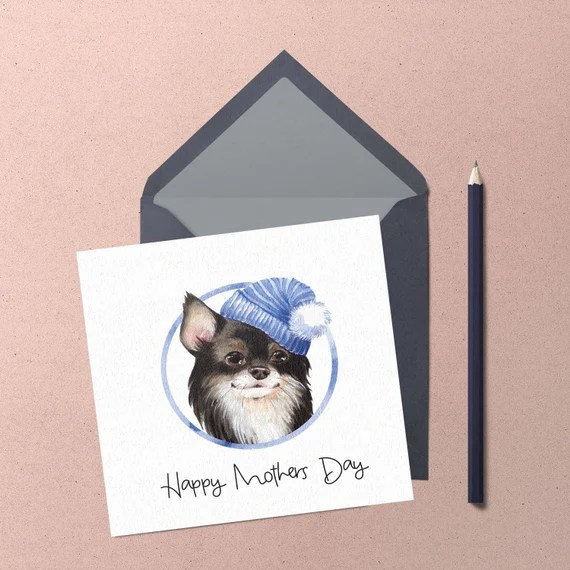 Mothers Day Chihuahua Greeting Card. Handmade cute chihuahua wearing a blue hat watercolour greeting card by Chihuahua Power