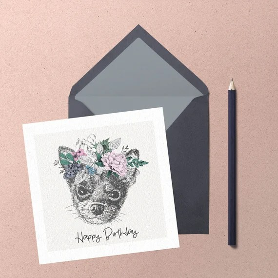 Chihuahua Birthday Greeting Card. Handmade cute chihuahua with floral wreath greeting card by Chihuahua Power