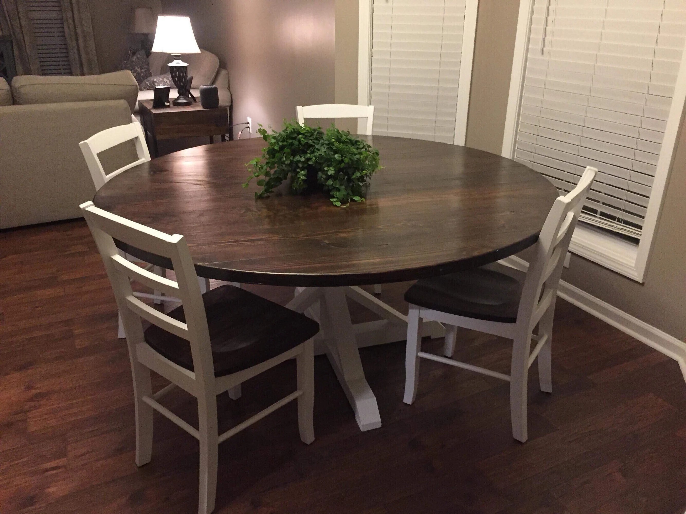 kitchen table round walmart stools farmhouse etsy dining with trestle style pedestal free delivery in va or nc but ship nation wide