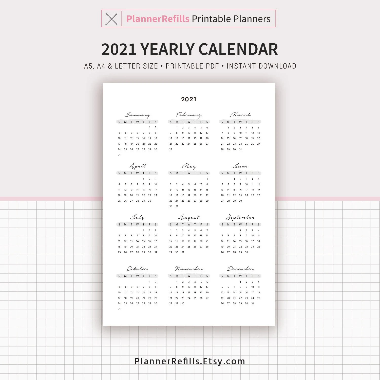2021 Yearly Calendar 2022 Yearly Calendar Year at a Glance ...