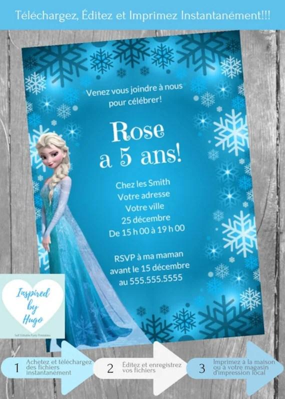 invitation la reine des neiges fete d anniversaire disney frozen telechargement instantane invitation en francais editable a personnaliser
