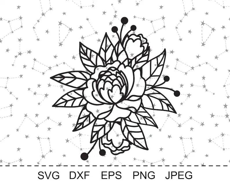 Peony flower svg cut file Sprint flower papercut template
