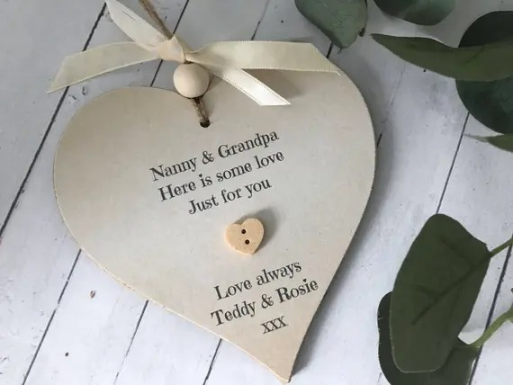 Personalised Grandparents Heart Gift Sign