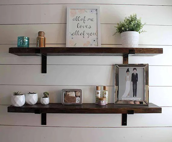 FIXER UPPER SHELF Floating Shelves Industrial Shelf Wood