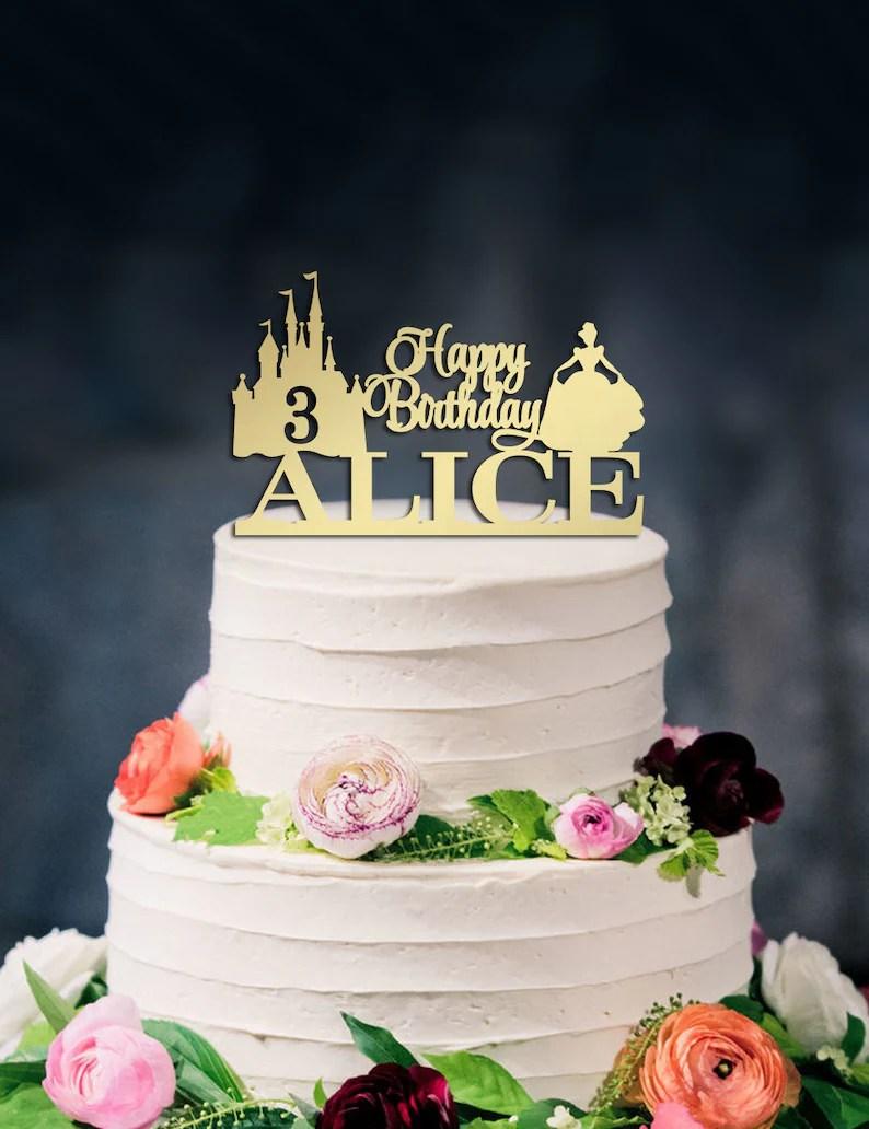 Happy Birthday Cake Topper Disney Cake Topper Cinderella Etsy