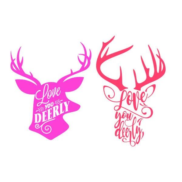 Download Love you deerly Deer reindeer Christmas Cuttable Design ...