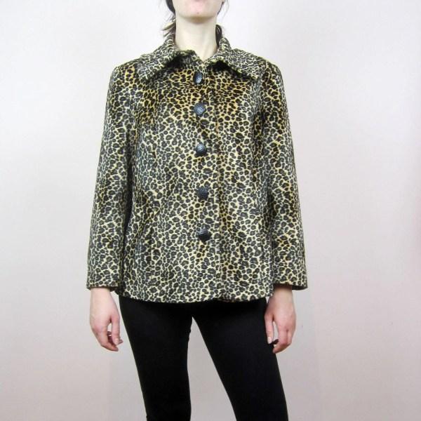 Vintage Leopard Animal Print Faux Fur Pea Coat