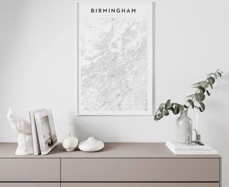 Birmingham Alabama Birmingham map Birmingham print image 0