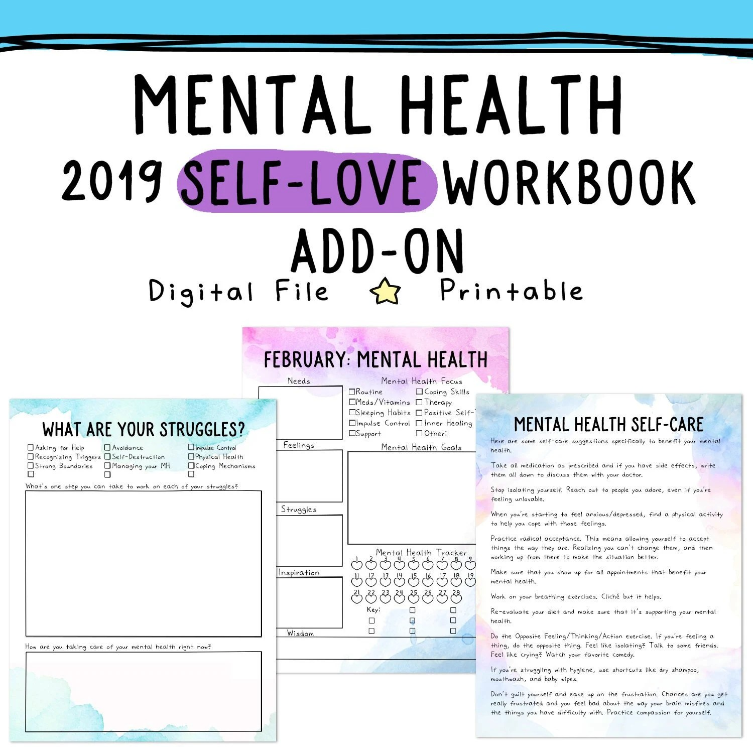 Mental Health Self Love Workbook Add On Depression