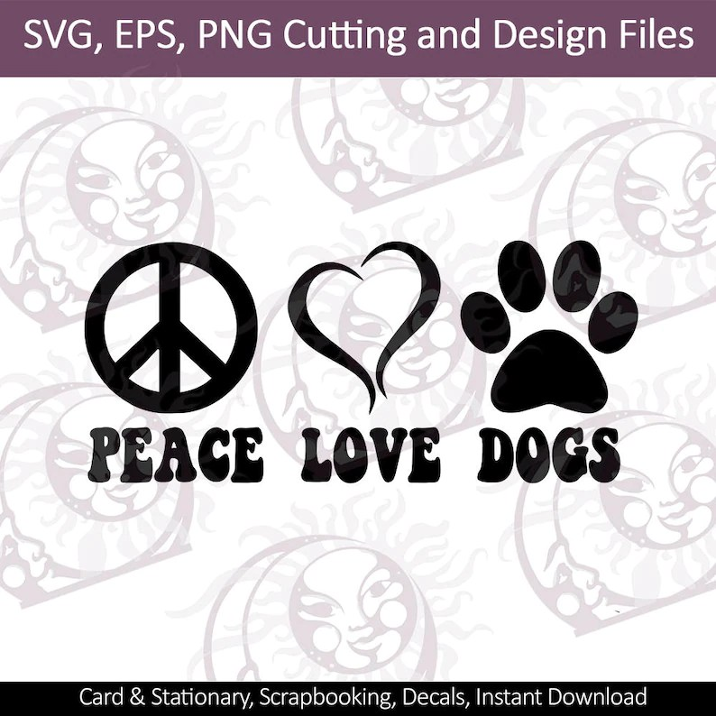 Download Peace Love Dogs Dog svg Paw Print svg SVG DXF EPS and | Etsy