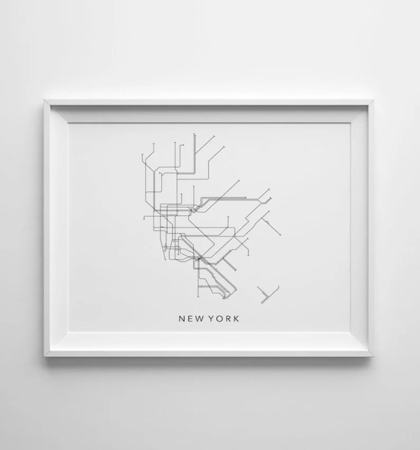 New York Metro Minimalistic Map Printable Art 8x10