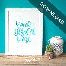 Mock Up Cactus White Frame Flatlay Picture Download Teal Etsy