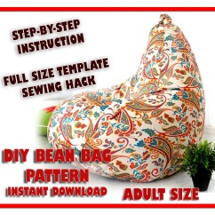 How To Sew Bean Bag Chair Cabbage Nendo Design Adult Sewing Pattern Full Size Template Etsy Cover Diy Lazy Sofa Floor Cushion Kids Teen Pillow