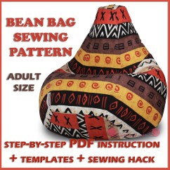How To Sew Bean Bag Chair Adirondack Style Dining Chairs Adult Sewing Pattern Full Size Template Etsy Image 0