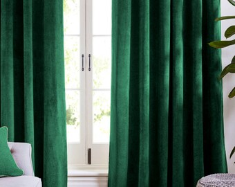 green curtains etsy