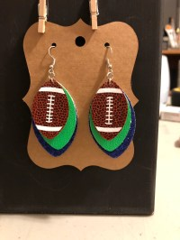 Faux Leather Football Earring Made to Order Handmade Team