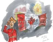 Canadian Proud !! Patriotic Art. Fireworks. Mountie Saluting Flag. Feeling of bursting with joy. Thankful.