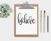 Hand Lettered Word of the Year - Believe - INSTANT DOWNLOAD