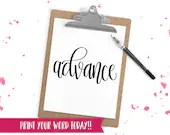 Hand Lettered Word of the Year - Advance - INSTANT DOWNLOAD