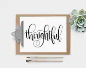 Hand Lettered Word of the Year - Thoughtful - INSTANT DOWNLOAD