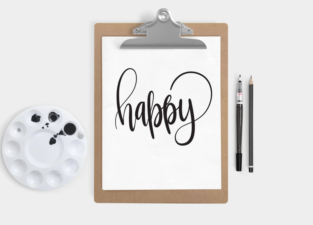 Hand Lettered Word of the Year - Happy - INSTANT DOWNLOAD