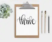 Hand Lettered Word of the Year - Thrive- INSTANT DOWNLOAD
