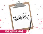 Hand Lettered Word of the Year - Wonder - INSTANT DOWNLOAD