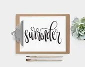 Hand Lettered Word of the Year - Surrender - INSTANT DOWNLOAD