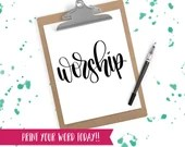 Hand Lettered Word of the Year - Worship - INSTANT DOWNLOAD