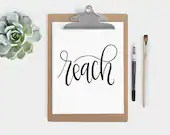 Hand Lettered Word of the Year - Reach - INSTANT DOWNLOAD