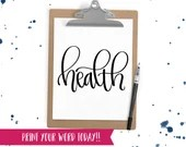 Hand Lettered Word of the Year - Health - INSTANT DOWNLOAD