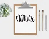 Hand Lettered Word of the Year - Nurture - INSTANT DOWNLOAD