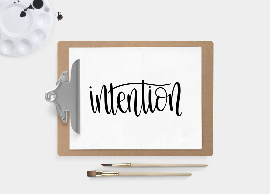 Hand Lettered Word of the Year - Intention - INSTANT DOWNLOAD