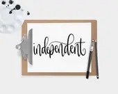 Hand Lettered Word of the Year - Independent - INSTANT DOWNLOAD