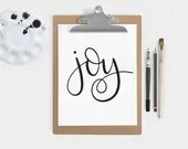 Hand Lettered Word of the Year - Joy - INSTANT DOWNLOAD
