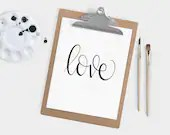 Hand Lettered Word of the Year - Love - INSTANT DOWNLOAD