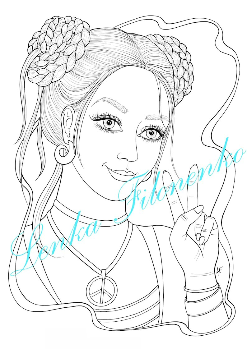 Coloring page for adults Young girl Peace sign PDF