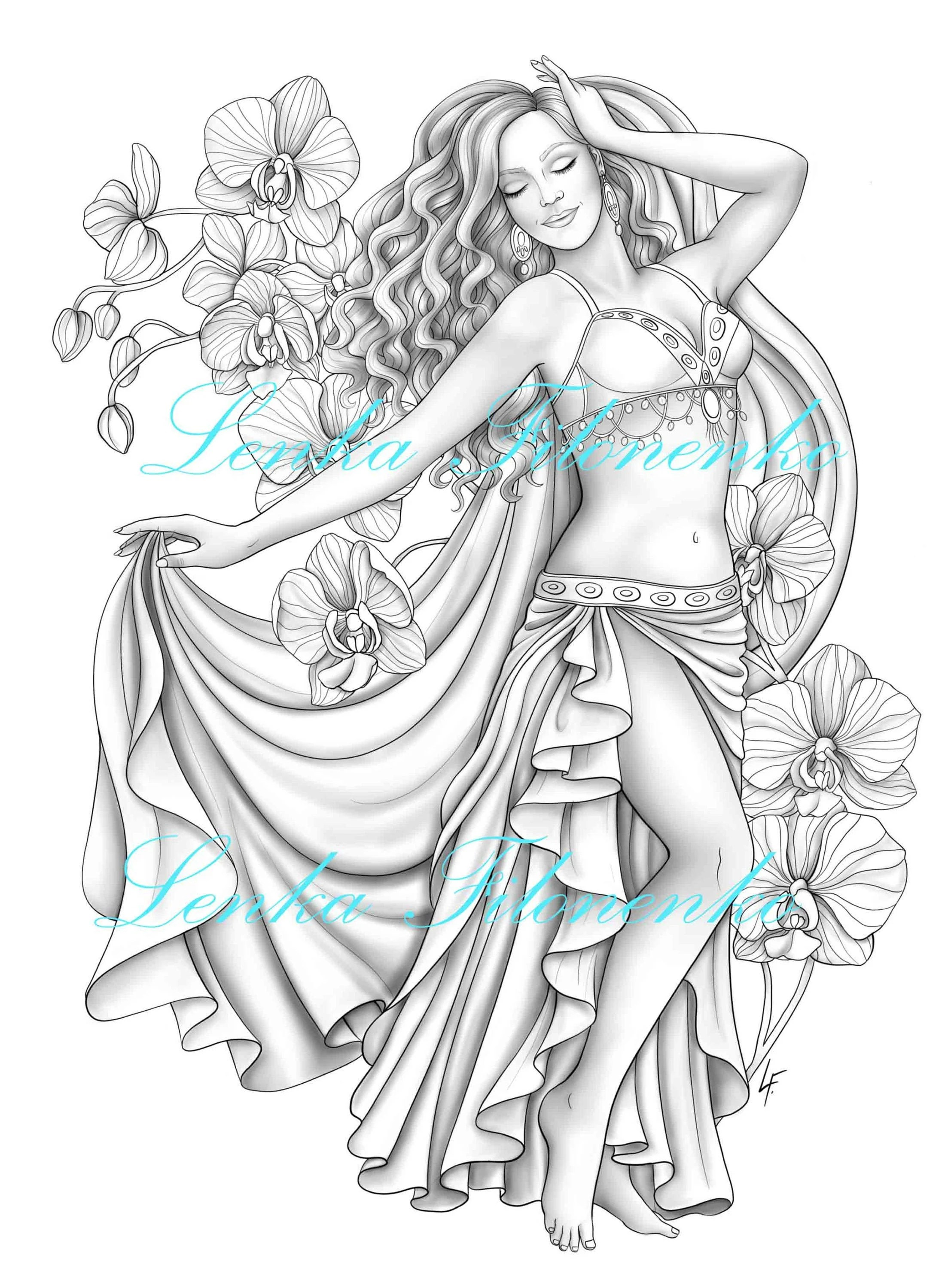 Coloring page for adults Belly dancer greyscale Coloring