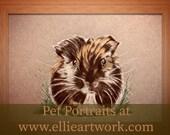 Custom Guinea Pig Portrait Pet Portrait Coloured Pencil Art Guinea Pig Guinea pig lovers