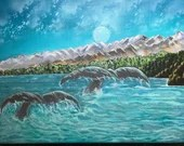 Moonlit whale tails acrylic painting